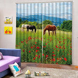 2 Panels Room Darkening Blackout Curtains, 3D Effect Print ,60 x 65 Inches