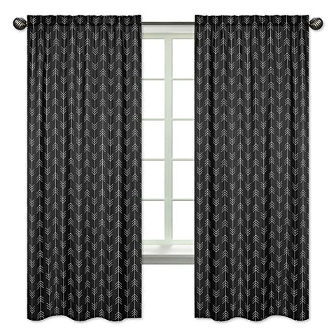 Black and White Woodland Arrow Window Treatment Curtains Set of 2