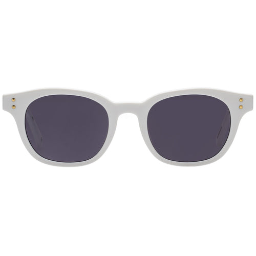 Le Specs Hermetica Uni-Sex White Modern Rectangle Prescription Ready Sunglasses