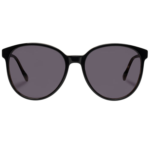Le Specs Elan Vital Womens Black Round Prescription Ready Sunglasses