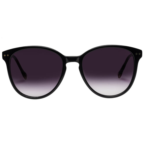 Le Specs Lqqks Womens Black Round Prescription Ready Sunglasses
