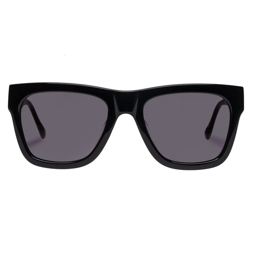 Le Specs Wrecking Ball Uni-Sex Black Modern Rectangle Prescription Ready Sunglasses