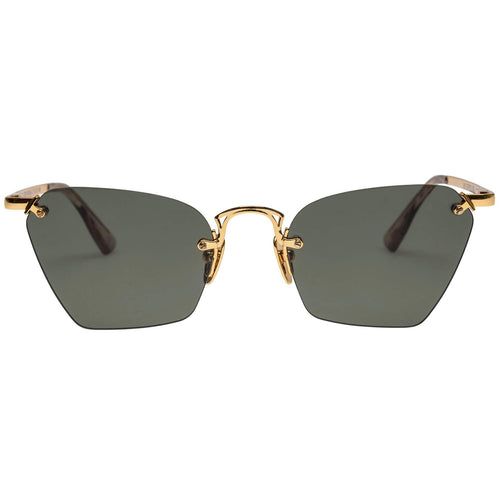 Le Specs Pit Stop Womens Gold Cat-Eye Sunglasses