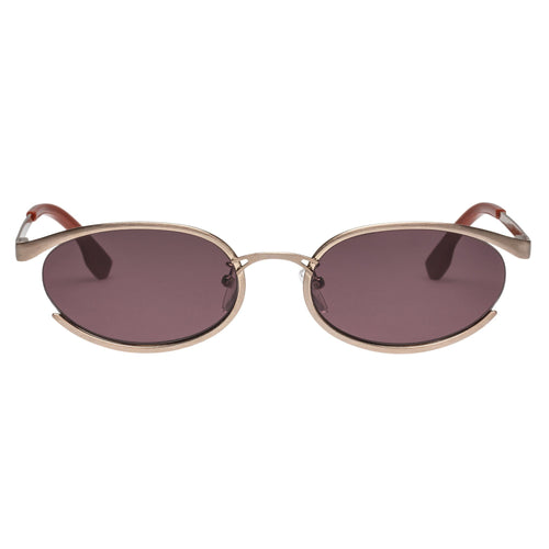 Le Specs Tres Solo Womens Rose Oval Sunglasses