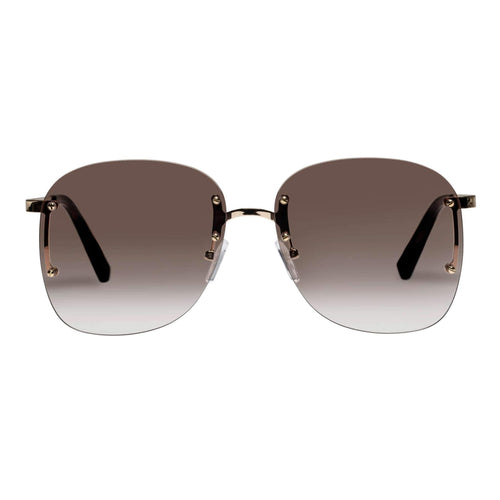 Le Specs Skyline Womens Gold Round Sunglasses