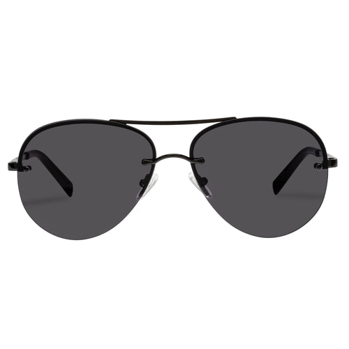 Le Specs Uni-Sex Panarea Black Aviator Sunglasses