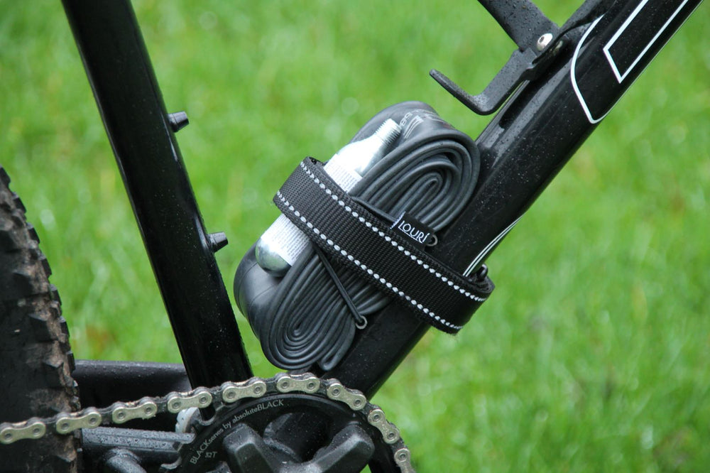 Black reflective inner tube strap