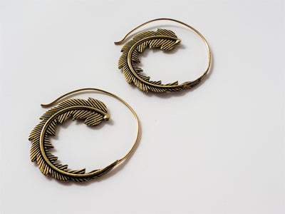Phoenix Feather Earrings Brass