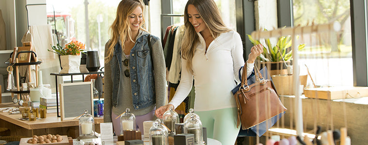 Two women shopping in comfortable clothing