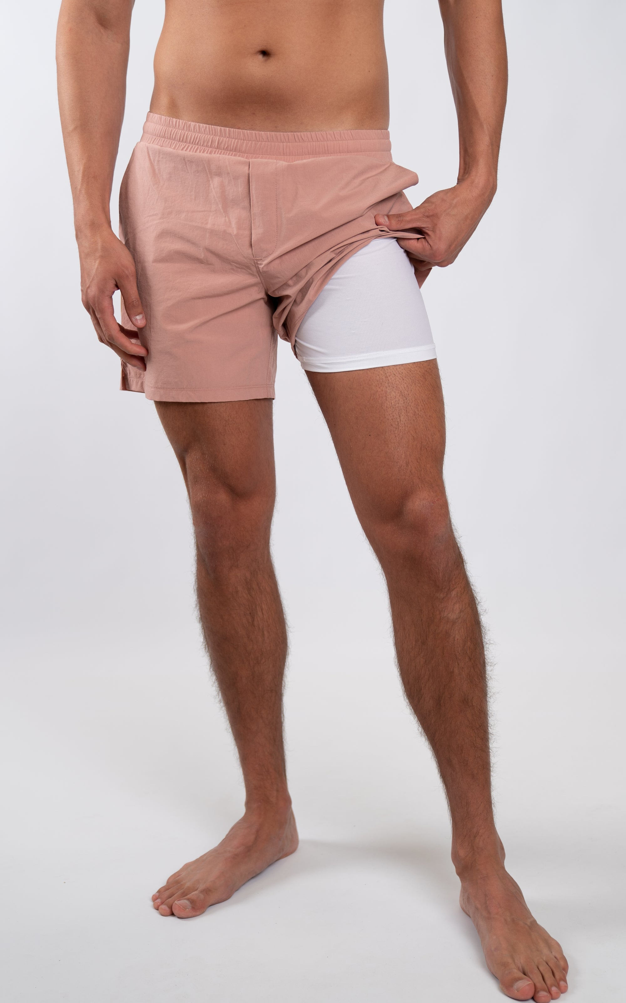 "Coastal Crossover Swim Shorts 5.5"" in Cameo Brown - Southern Athletica"