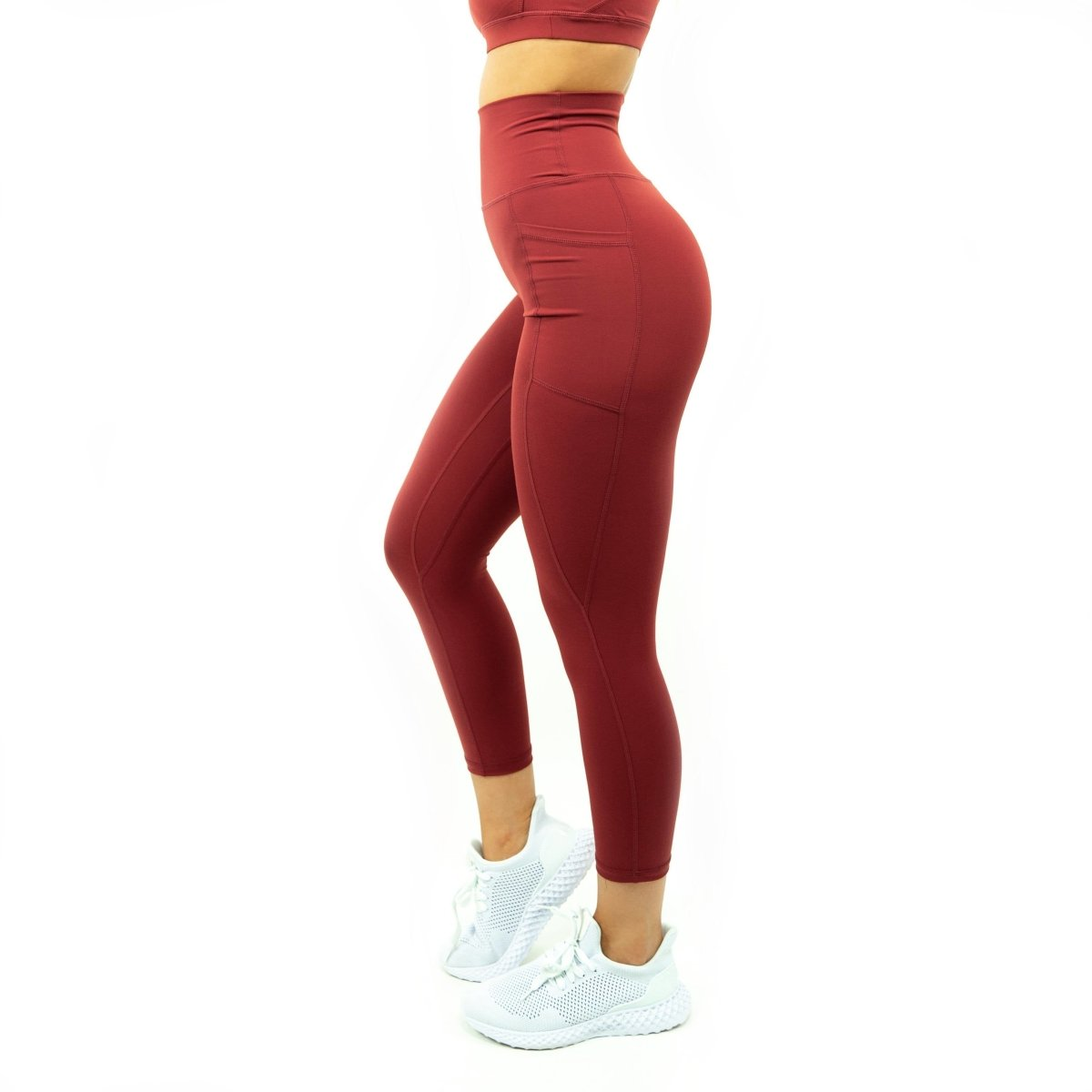 Pocket Leggings in Red Dahlia - Southern Athletica