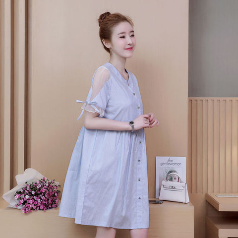 757d5ea42bf03 2018 New Fashion Maternity Dresses Casual Summer Dress For Pregnant Women  A-Line Striped Prenancy