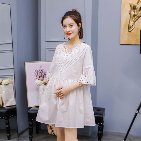 6c8fe0d1135c6 2018 New Fashion Maternity Dresses Casual Summer Dress For Pregnant Women  Elegant Prenancy Dress Maternity Clothes