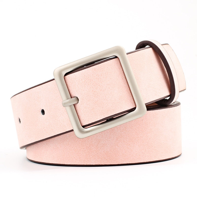 cc7cefb70 2019 New Designer Black Red White Wide Leather Belt Waistband Female  Vintage Square Pin Buckle Waist