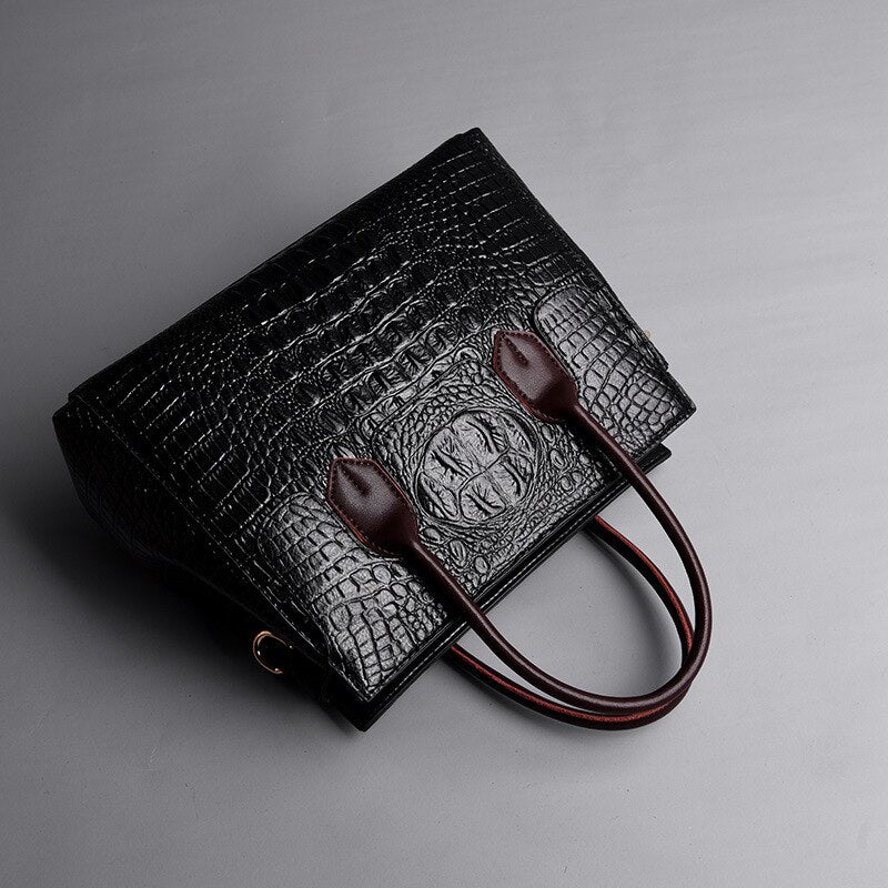 d583ff5ceaa 2019 New Vintage Genuine Leather Bag Women Alligator Luxury Handbags Women  Bags Designer Crossbody Bags for