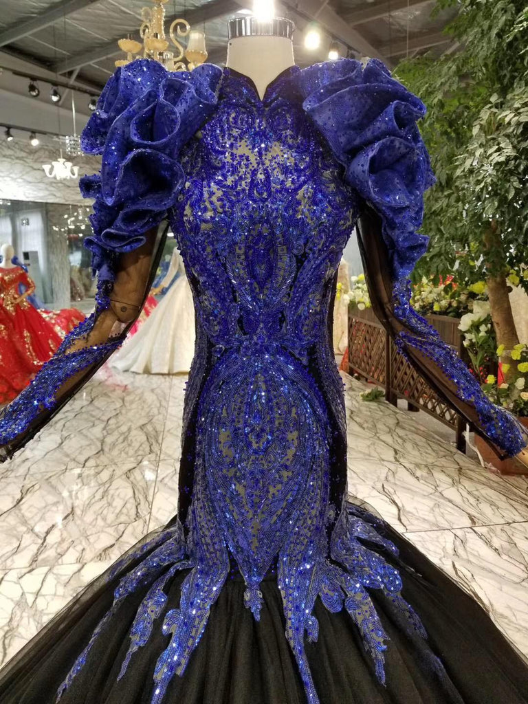 74d89ae0fa322 Beads Sparkly Long Sleeve Mermaid High Neck Golden Lace Sequin African Long  Prom Dresses 2019 Royablue