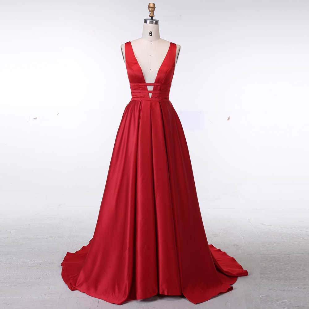 BeryLove Sexy Red Evening Dresses 2018 Elegant Satin Evening Gowns Long  Formal Evening Dress Styles Women f4c72063518d
