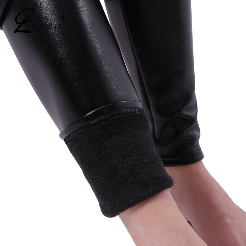 92bc188e61 CHRLEISURE S-5XL Women Plus Size Winter Leather Pants Warm Velvet Pant High  Waist Trousers