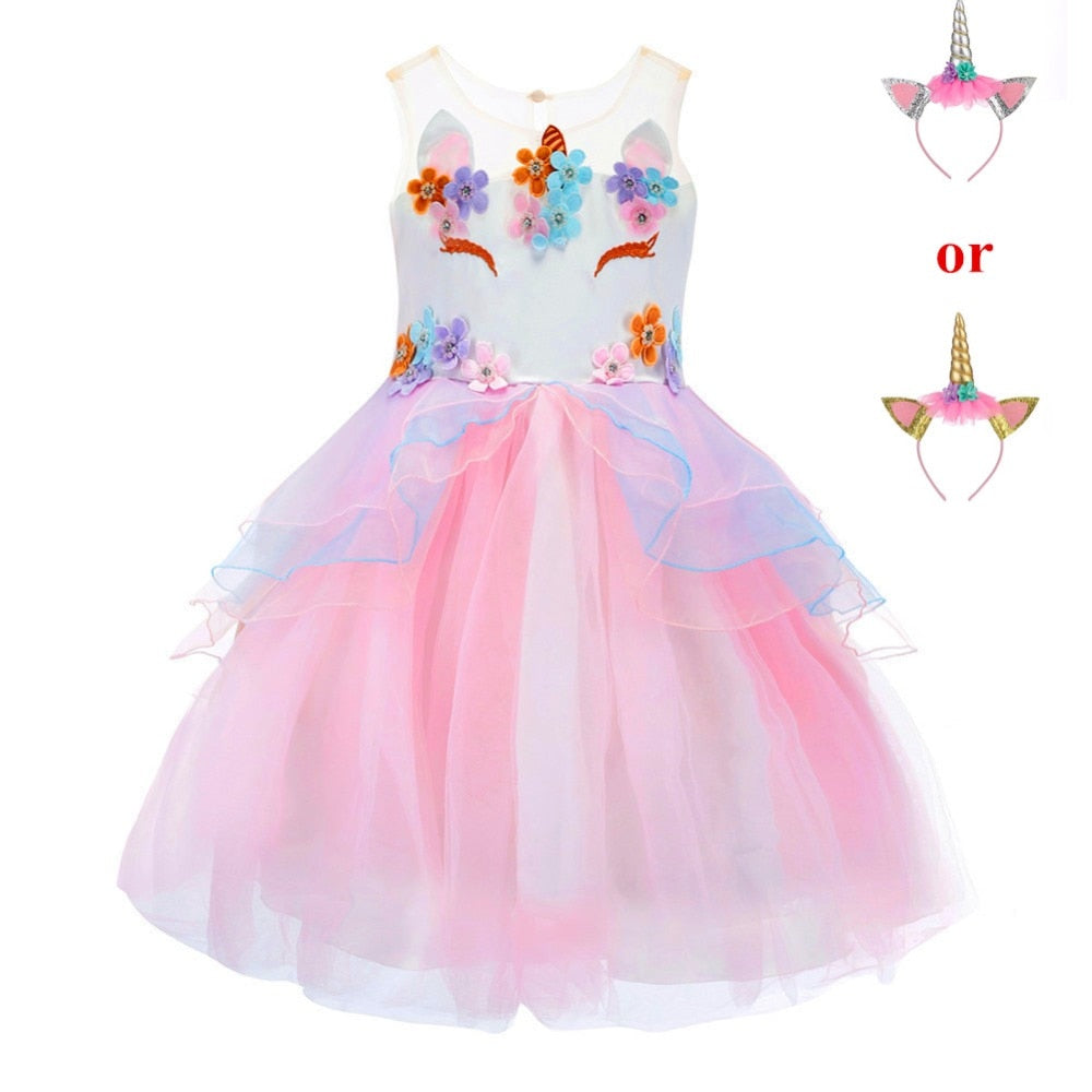 ddf59e06cc07a Fancy Kids Unicorn Tulle Dress for Girls Embroidery Ball Gown Baby Flower  Girl Princess Dresses Wedding