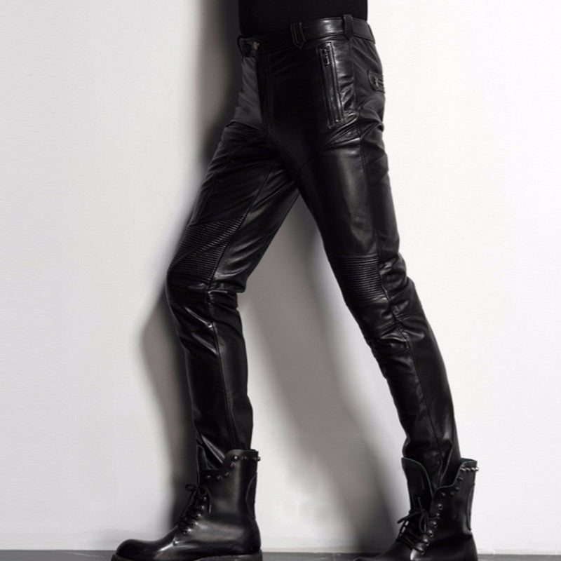 4ddd2a27cb7e3 New Brand Black Genuine Leather Pants Men Fashion Casual Plus Size 35 36  Motorcycle Pants Trousers