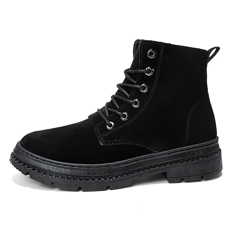 3a5b6471a PU Leather Male Martin Boots 2018 Winter Comfortable Business Adult Lace up  Pure Color Vintage Best