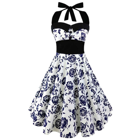 452ebaa23b0 Plus Size Women Floral Skull Print Off Shoulder Sexy Halter Dress Retro  Vintage Hepburn Style 2018
