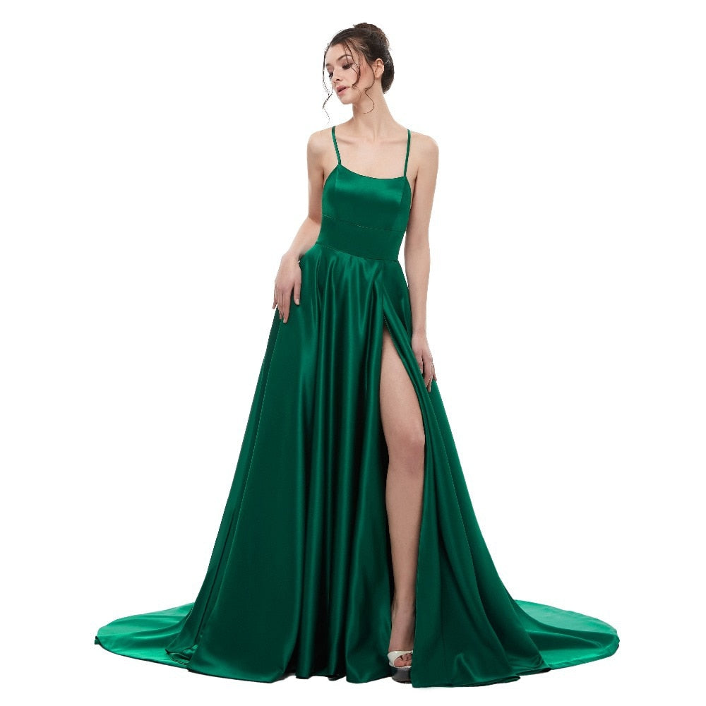 0efa7d584bf7a Sexy Green Backless Long Maxi Dress 2018 Satin with Spaghetti Straps Long  Prom Party Dress Side