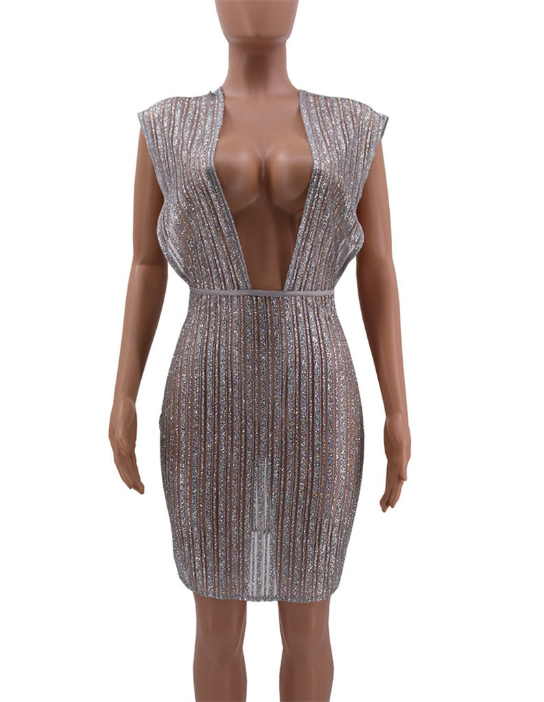 Sexy Sheer Silver Glitter Sequin Party Dresses Women Night Club Going Out  Shiny Dress See Through a7510001d7d8