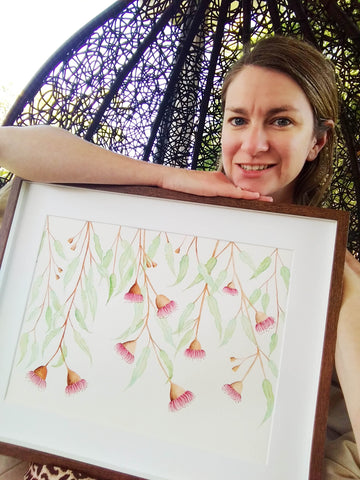 Artist with Australian native flower print