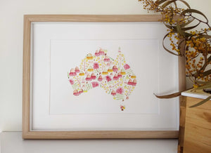 Australian map artwork print
