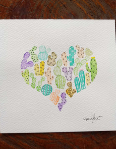 watercolour cactus heart painting
