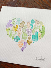 Load image into Gallery viewer, watercolour cactus heart painting