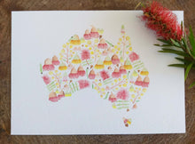 Load image into Gallery viewer, Floral Australian Map Print