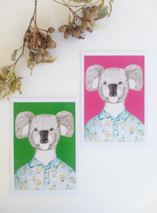 Koala in a Wattle shirt Art Print
