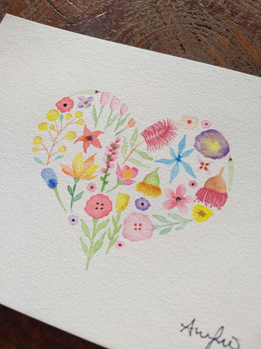 Watercolour Floral Heart painting