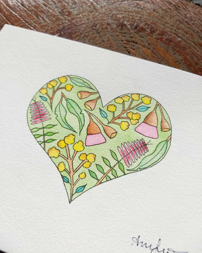 Original Watercolour Heart Painting - Pen and Watercolour Design