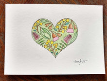 Load image into Gallery viewer, Original Watercolour Heart Painting - Pen and Watercolour Design