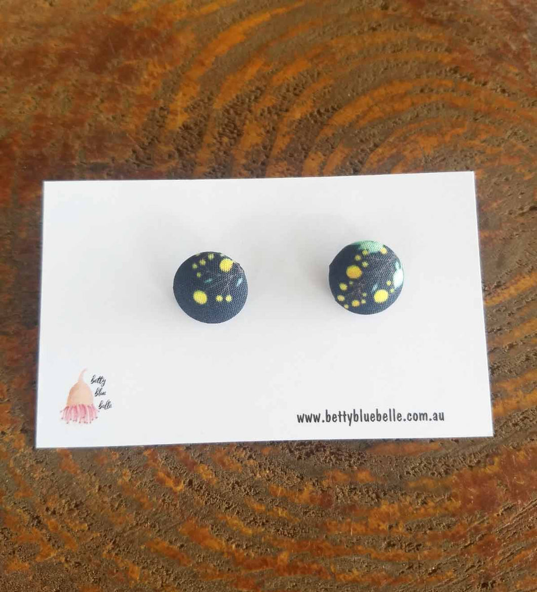 Navy Wattle Pattern Earrings #9 - *FREE Shipping within Australia*