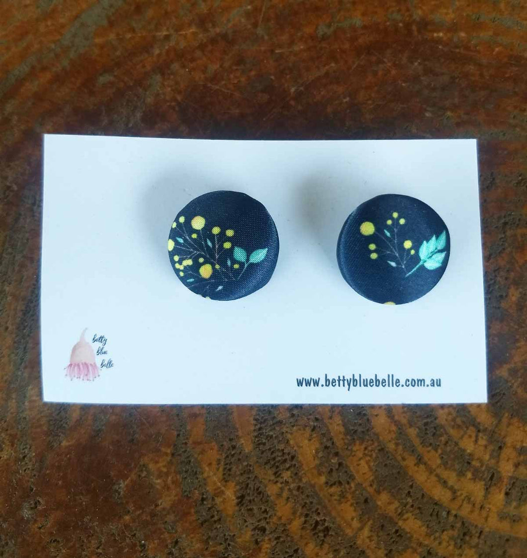 Navy Wattle Pattern Earrings #7 - *FREE Shipping within Australia*