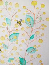 Load image into Gallery viewer, Wattle for Bees - watercolour painting