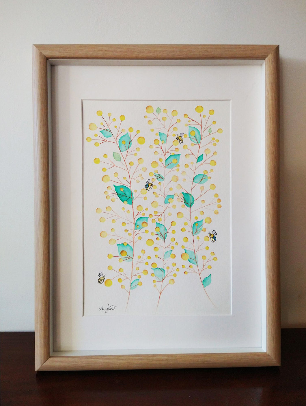 Wattle for Bees - watercolour painting