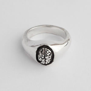 Exposed Brain Silver Signet Ring