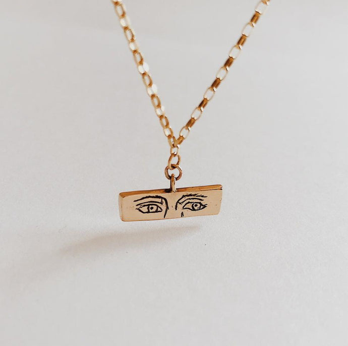 Gold sad t-bar necklace (9 carat)