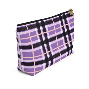 Violet Checker Pattern Signature Hand Bag