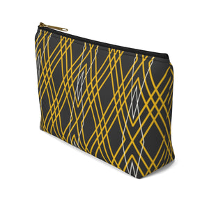 Axel Grayson signature hand pouch, charcoal black with gold and white art deco checker pattern bag has a black zipper