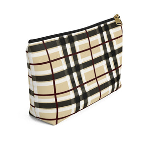 Axel Grayson signature hand pouch, coffee cream with black, white and red checker pattern bag has a black zipper