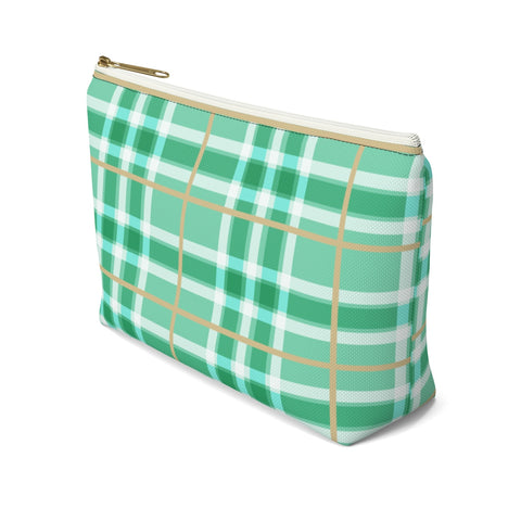 Axel Grayson signature hand pouch, seafoam green with dark green, white and tan checker pattern bag has a white zipper