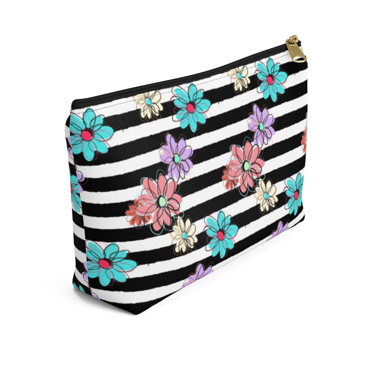 Axel Grayson signature hand bag, charcoal black stripes with sky blue, violet, coral and classic white flower pattern, bag has a black zipper