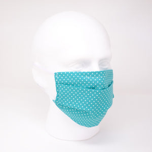 Polka Dot Aqua Pleated Face Mask