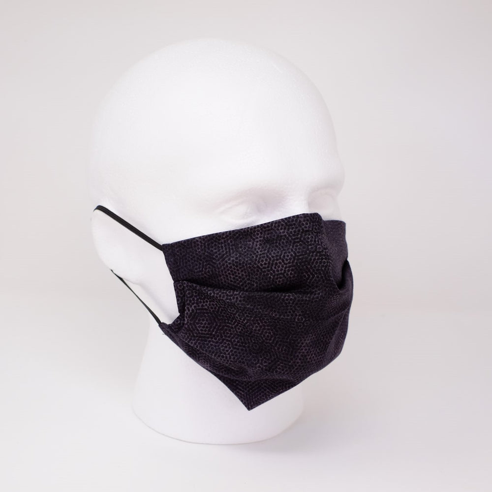 Hex Black Pleated Face Mask